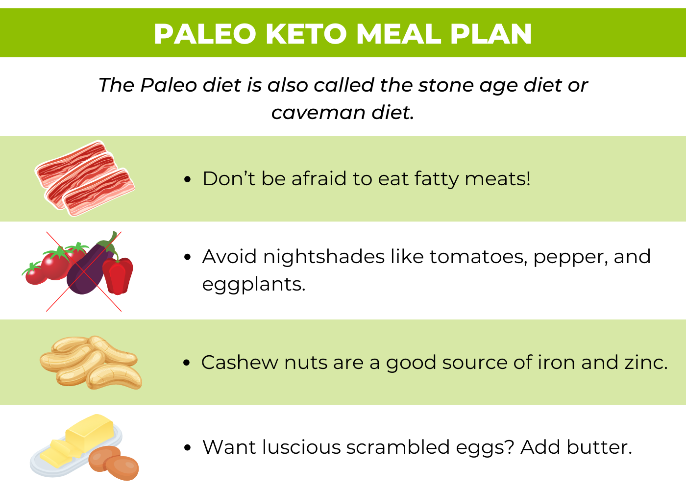 paleo keto meal plan infographic